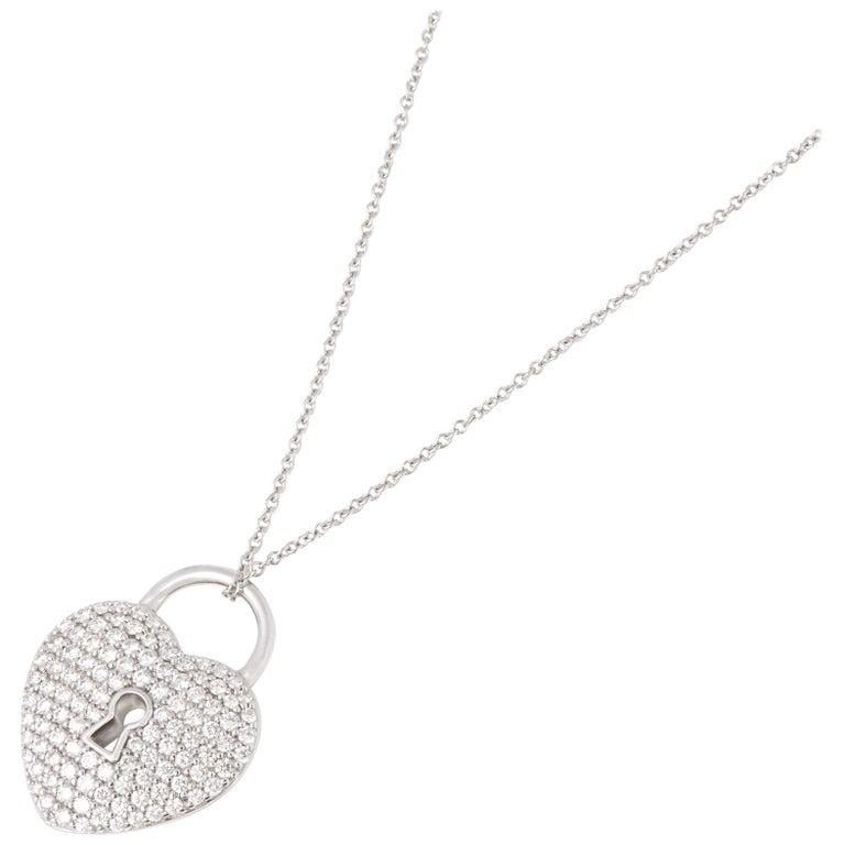 Tiffany And Co Platinum Diamond Heart Tiffany Key Pendant Necklace At 1stdibs