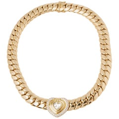 Chopard 18 Karat Yellow Gold Happy Diamonds Large Statement Necklace