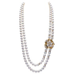 Yoko London South Sea Pearl, Akoya Pearl and Diamond Necklace in 18 Karat Gold