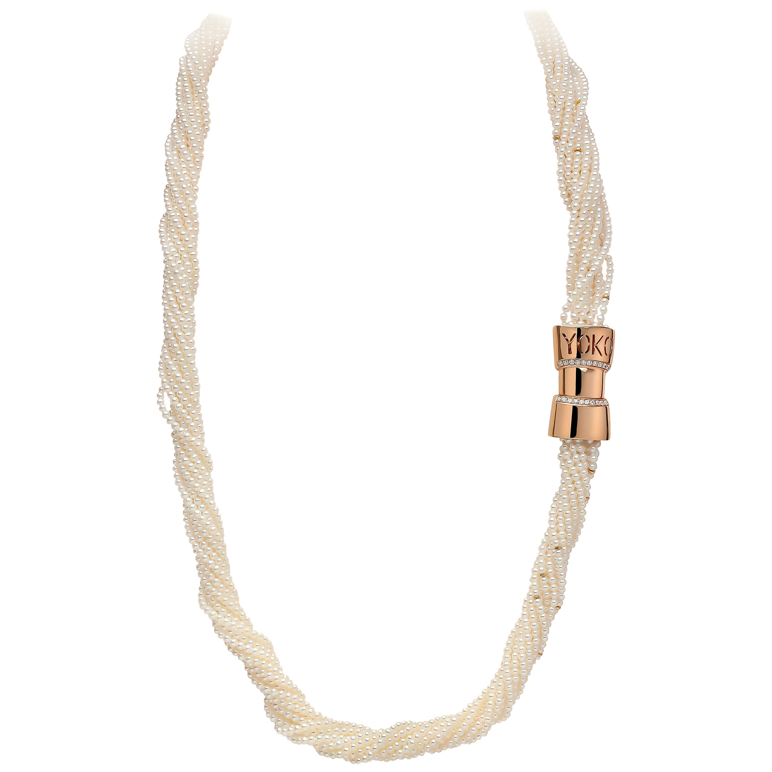 Yoko London Freshwater Pearl and Diamond Necklace in 18 Karat Rose Gold