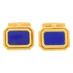 Lapis Lazuli Swivel-Back Cufflinks in Yellow Gold