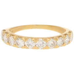 Vintage Oscar Heyman Diamond Half-Eternity Ring in Yellow Gold 1.30 Carat