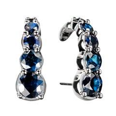 White Gold Hook Earrings Blue Sapphires