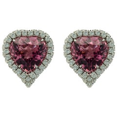 Pink Tourmaline Heart Shape White Gold Earrings by Margherita Burgener, Italy