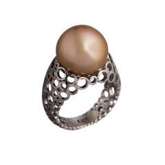 Sasonko 15.49 Carat Yellow Pearl 18 Karat White Gold Ring
