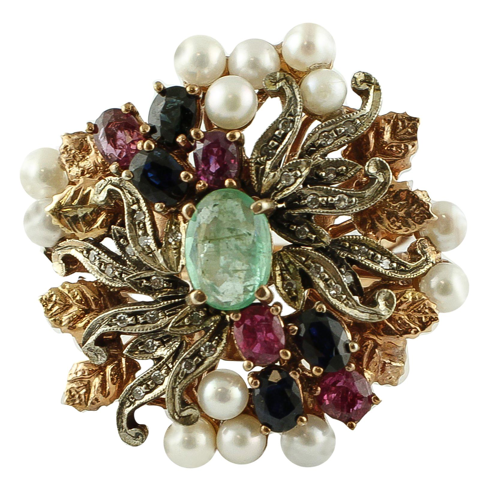 Emeralds Diamonds Rubies Blue Sapphires Pearls 9 Karat Rose Gold and Silver Ring