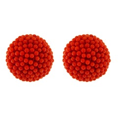 Valentin Magro Red Coral Ball Earrings