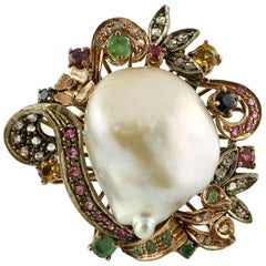 Baroque Pearl, Emeralds, Rubies, Sapphires, 9 Karat Gold and Silver Retro Ring