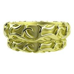 18 Karat Green Wedding Ring Set