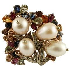 Pearls Diamonds Emeralds Rubies Sapphires 9 Karat Gold and Silver Retro Ring