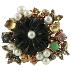 Onyx Diamonds Emeralds Sapphires Pearls 9 Karat Rose Gold and Silver Flower Ring
