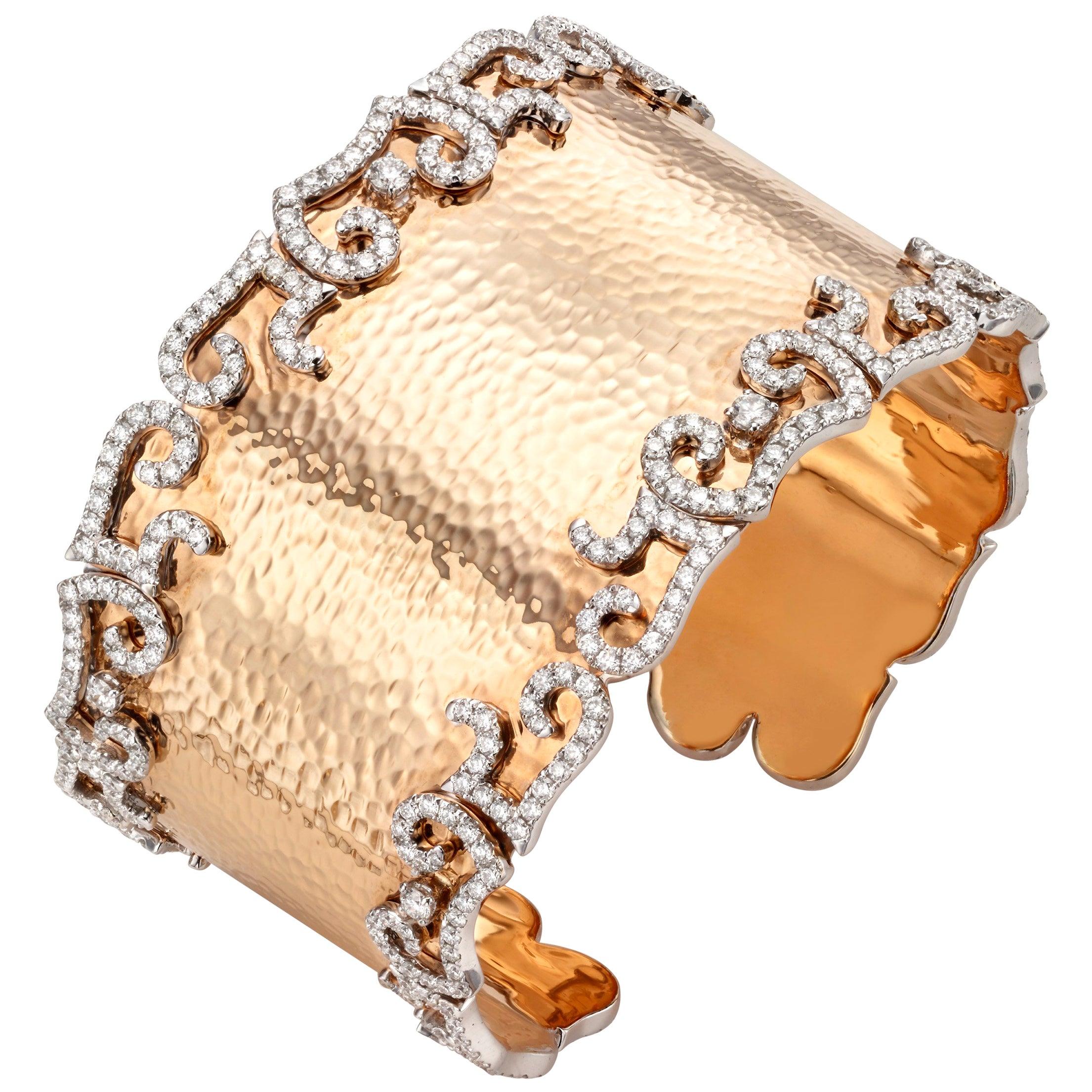 7.65 Carat Diamond 18 Karat Hammered Rose Gold Cuff Bangle