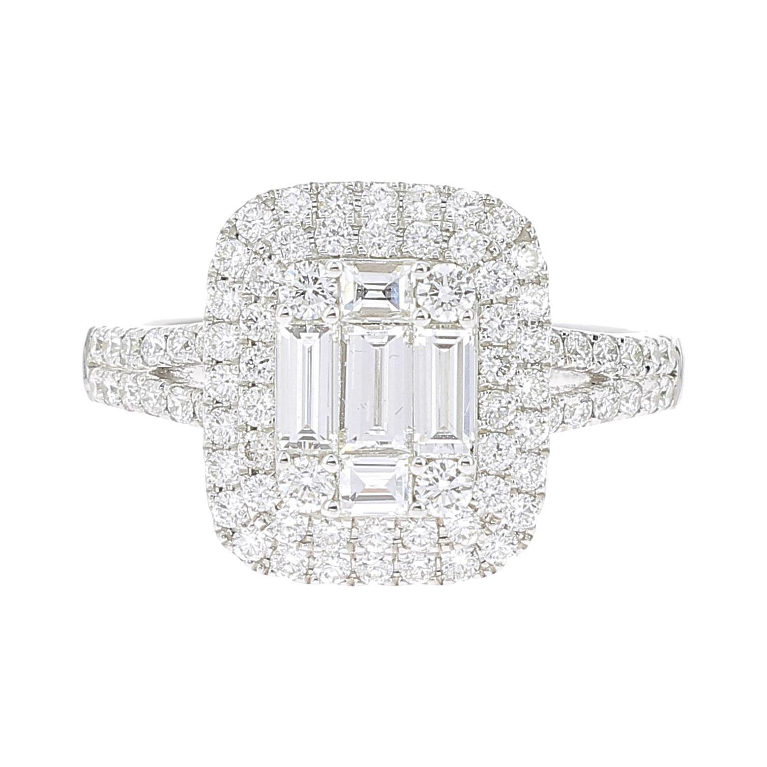732578a32e9bdf 1.11 Carat Emerald Cut Illusion Diamond Ring Baguette-Cut-Diamond 18 Karat  at 1stdibs