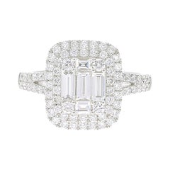 1.11 Carat Emerald Cut Illusion Diamond Ring Baguette-Cut-Diamond 18 Karat