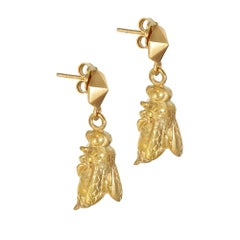 18 Carat Yellow Gold Vermeil Bee and Honeycomb Earrings