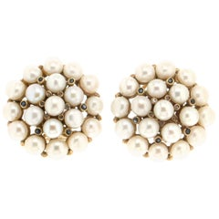 Pearls 18 Karat Yellow Gold Diamonds Stud Earrings