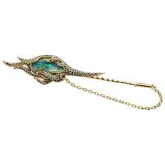 Sasonko 4.80 Carat Opal Ruby Sapphire Tourmaline 18 Karat Yellow Gold Brooch