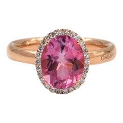 18 Karat Rose Gold Pink Topaz and White Diamonds Garavelli Ring