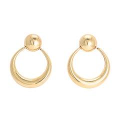 Vintage 1970s Crescent Moon Gold Hoop Earrings