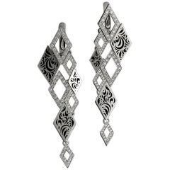 Sasonko 1.05 Carat Diamonds Enamel 18 Karat White Gold Earrings