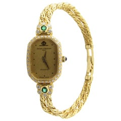 Baume & Mercier 18 Karat Yellow Gold Emerald Diamond Ladies Watch Quartz