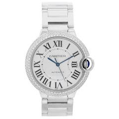 Cartier Ballon Bleu Midsize 18 Karat White Gold and Diamond Watch WE9006Z3