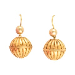 Antique Victorian Etruscan Revival Gold Orb Earrings