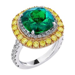 Garrard Iconic Gubelin 6.70ct Colombian Emerald & Yellow Diamond Cocktail Ring