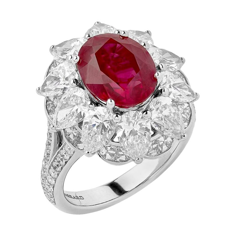 Garrard 18 Karat White Gold GRS 5.05cts Oval Ruby & White Diamond Cluster Ring
