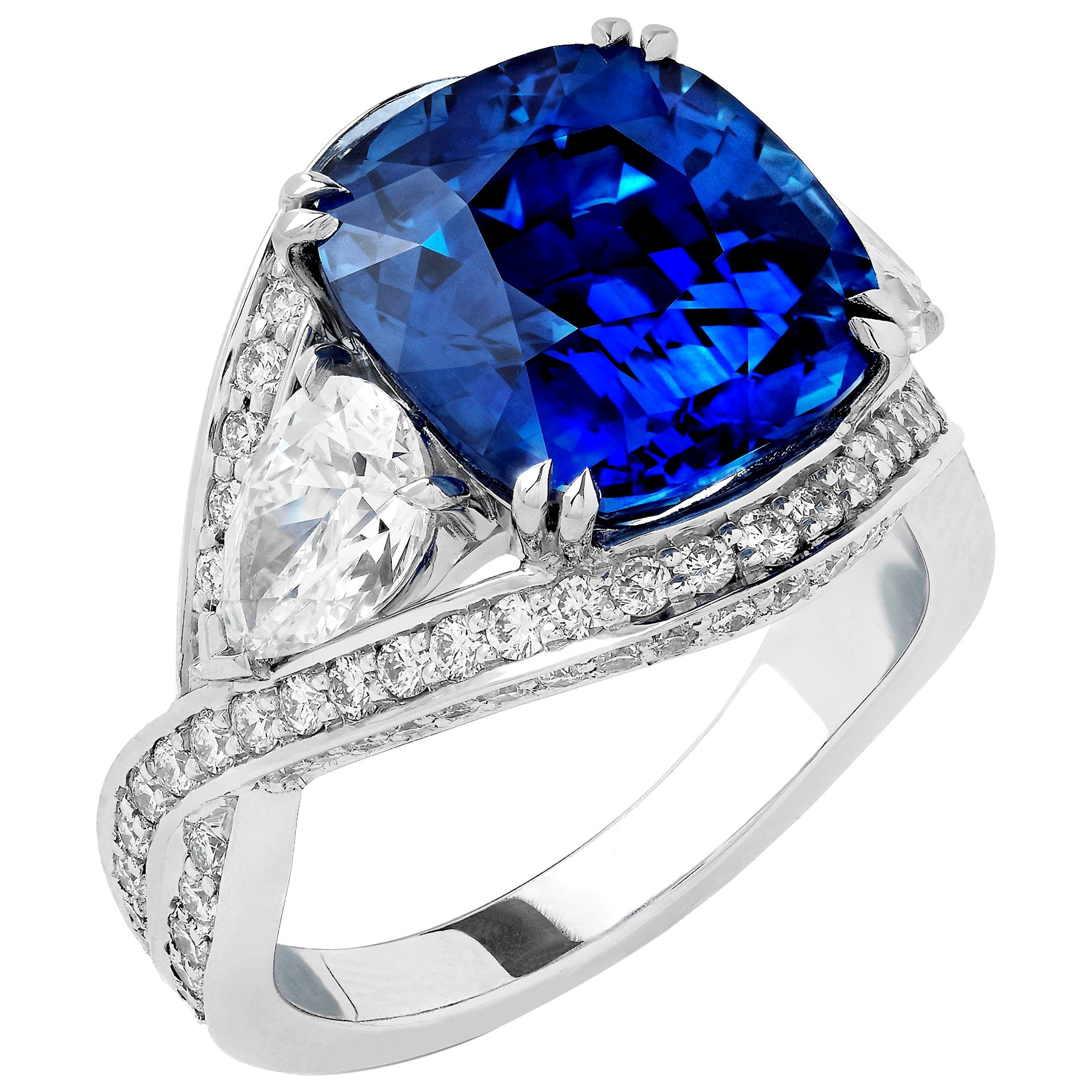 Garrard 18 Karat White Gold GRS Blue Sapphire 8.85ct Cushion Cut Cocktail Ring