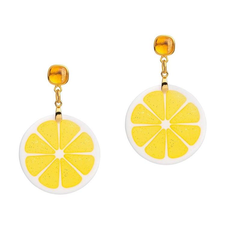 25334ed67 18ct Yellow Gold Vermeil, Brass, Citrine and Resin 'Detox' Lemon Earrings  For