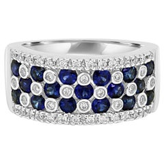 Blue Sapphire Round White Diamond Cocktail Fashion Gold Band Ring