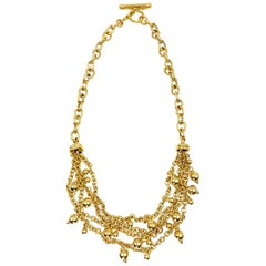 Yellow Gold Multi-Chain Bib Style Necklace