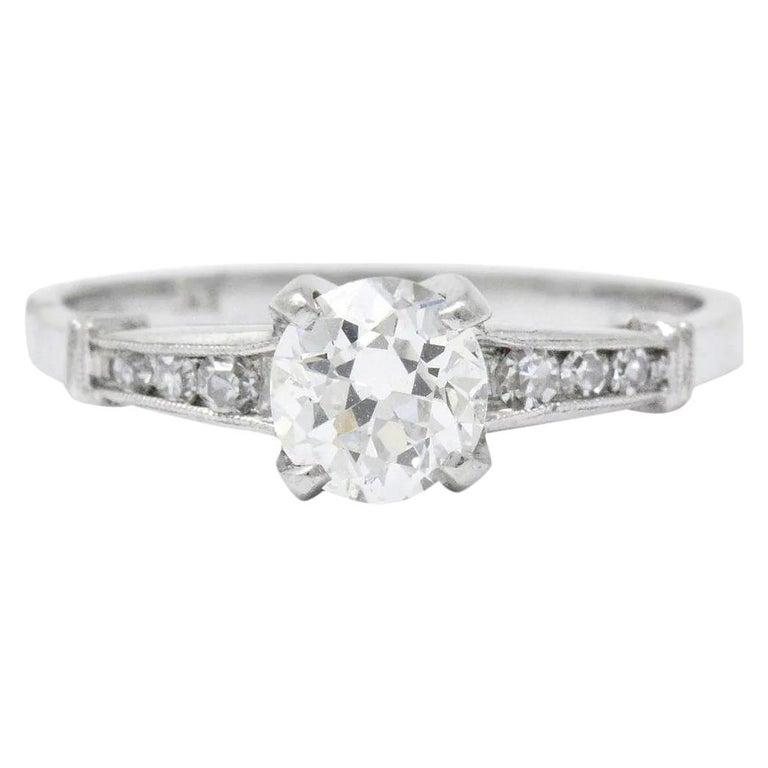 Midcentury 0.95 Carat Diamond Platinum Engagement Ring For Sale