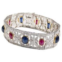 Platinum Diamond Sapphire Ruby Vintage Art Deco Style Bracelet