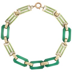 Antique Deco Enamel Bracelet Chrysoprase 14k Gold Green Square Links Vintage