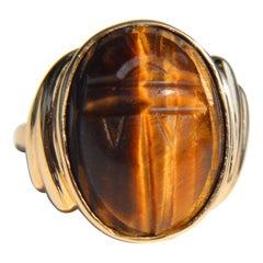 Vintage 10 Karat Gold 8.5 Carat Tiger's Eye Scarab Beetle Cocktail Ring