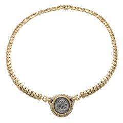 "Bulgari Diamond Yellow Gold Necklace ""Monete"" Collection"