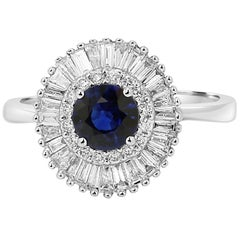 Blue Sapphire Diamond Double Halo Gold Art Deco Style Ballerina Cocktail Ring