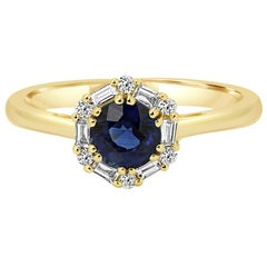 Blue Sapphire Round Diamond Halo Gold Bridal Cocktail Ring
