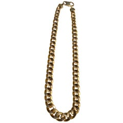 Vintage Italian 14 Karat Gold Cuban Link Chain Choker Necklace