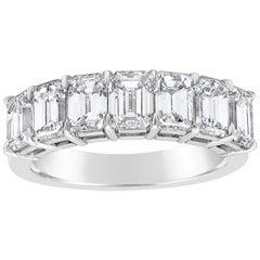 Roman Malakov 3.23 Carat Total Emerald Cut Diamond Seven-Stone Wedding Band