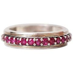 Silver/22 Karat Gold Inlay Ruby Ring