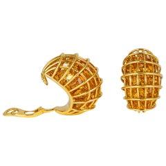 Verdura Citrine Caged Earrings