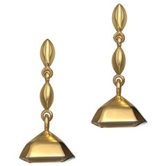 18 Carat Yellow Gold Vermeil Geometry Drop Earrings