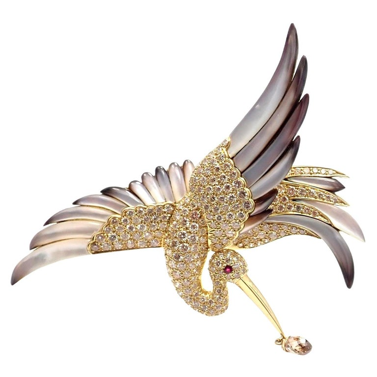 Jean Vitau Diamond Mother of Pearl Large Stork Yellow Gold Brooch For Sale