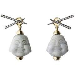 18 Carat Gold, Yellow Gold, White Diamond, Rhodium and Jade Buddha Earrings