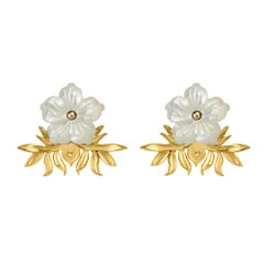 18 Carat Yellow Gold Vermeil and Hand Carved Mother of Pearl Flower Earrings
