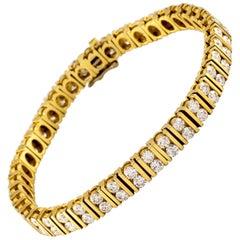 6.68 Carat Round Diamond Yellow Gold Doublet Tennis Bracelet