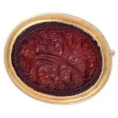 Antique Georgian 18 Karat Gold and Carnelian Intaglio Fob Seal